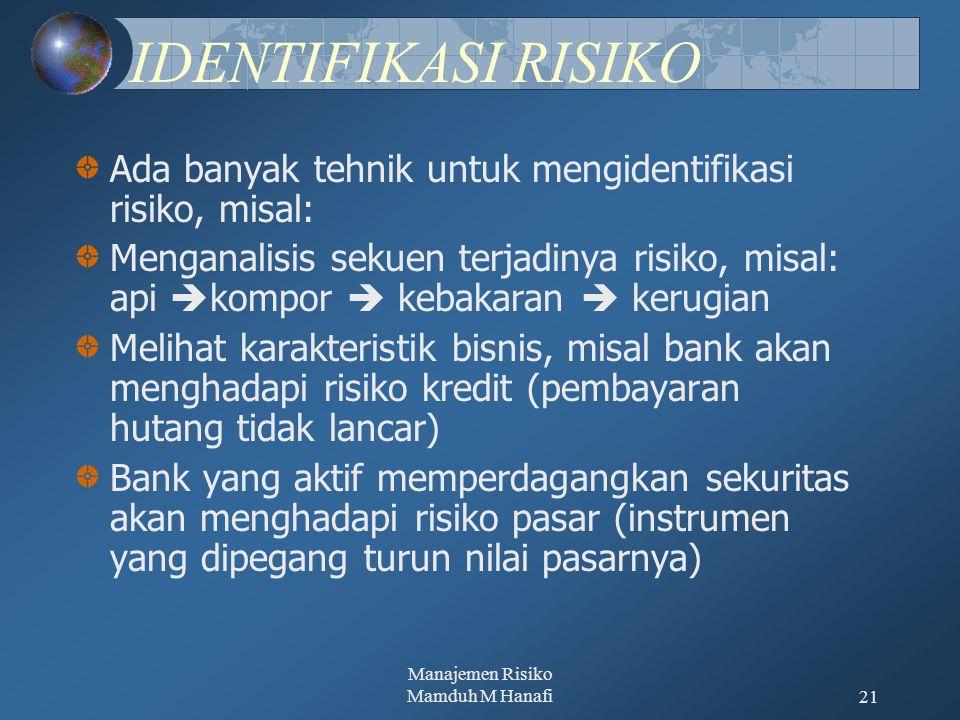 Manajemen Risiko Mamduh M Hanafi21 IDENTIFIKASI RISIKO Ada banyak tehnik untuk mengidentifikasi risiko, misal: Menganalisis sekuen terjadinya risiko,