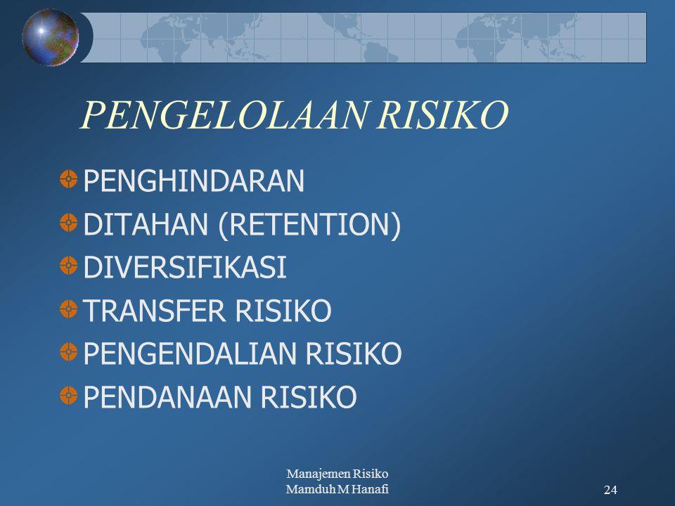 Manajemen Risiko Mamduh M Hanafi24 PENGELOLAAN RISIKO PENGHINDARAN DITAHAN (RETENTION) DIVERSIFIKASI TRANSFER RISIKO PENGENDALIAN RISIKO PENDANAAN RIS