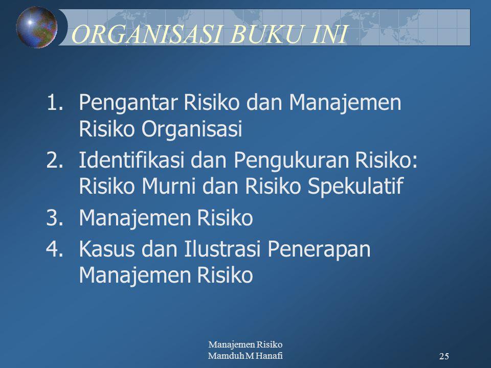 Manajemen Risiko Mamduh M Hanafi25 ORGANISASI BUKU INI 1.Pengantar Risiko dan Manajemen Risiko Organisasi 2.Identifikasi dan Pengukuran Risiko: Risiko