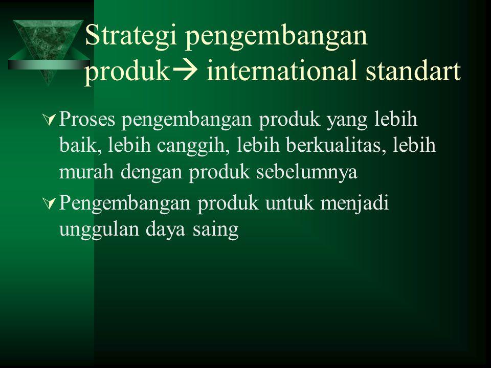 Strategi pengembangan produk  international standart  Proses pengembangan produk yang lebih baik, lebih canggih, lebih berkualitas, lebih murah dengan produk sebelumnya  Pengembangan produk untuk menjadi unggulan daya saing