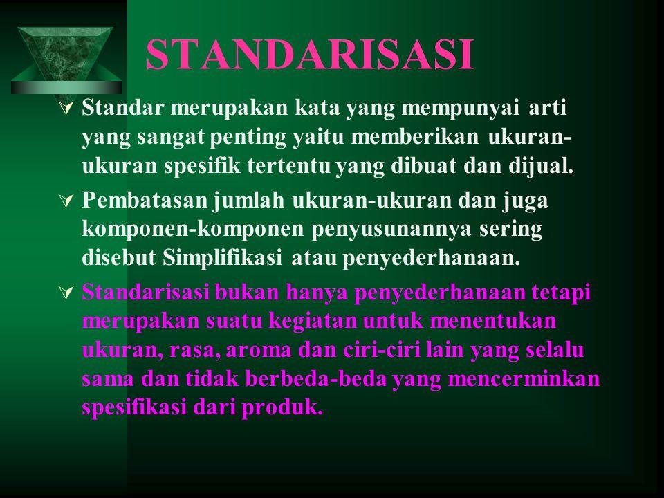  Standar merupakan kata yang mempunyai arti yang sangat penting yaitu memberikan ukuran- ukuran spesifik tertentu yang dibuat dan dijual.