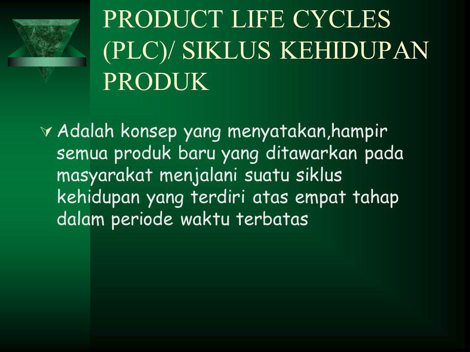 PRODUCT LIFE CYCLES (PLC)/ SIKLUS KEHIDUPAN PRODUK  Adalah konsep yang menyatakan,hampir semua produk baru yang ditawarkan pada masyarakat menjalani suatu siklus kehidupan yang terdiri atas empat tahap dalam periode waktu terbatas
