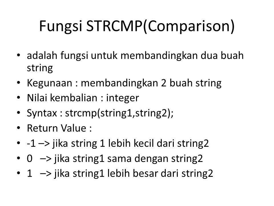 Fungsi STRCMP(Comparison) adalah fungsi untuk membandingkan dua buah string Kegunaan : membandingkan 2 buah string Nilai kembalian : integer Syntax :