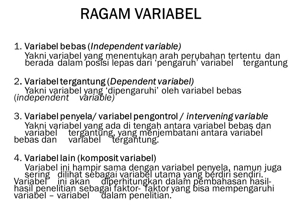 RAGAM VARIABEL 1.