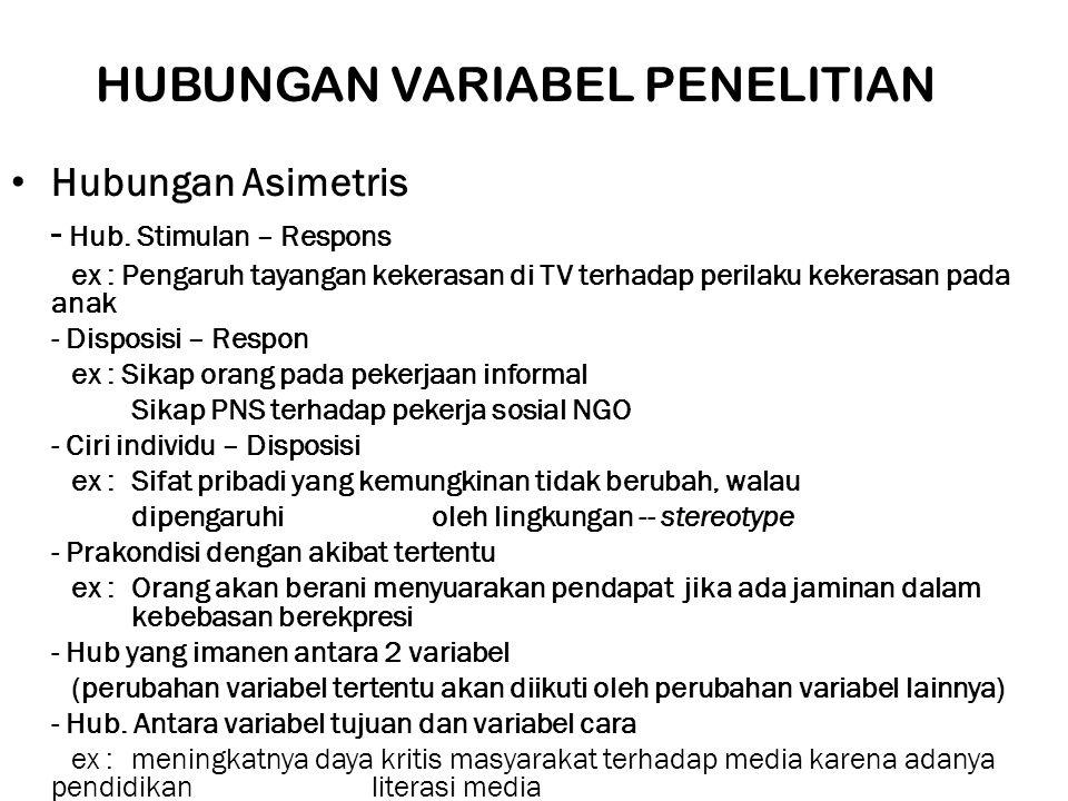 HUBUNGAN VARIABEL PENELITIAN Hubungan Asimetris - Hub. Stimulan – Respons ex : Pengaruh tayangan kekerasan di TV terhadap perilaku kekerasan pada anak