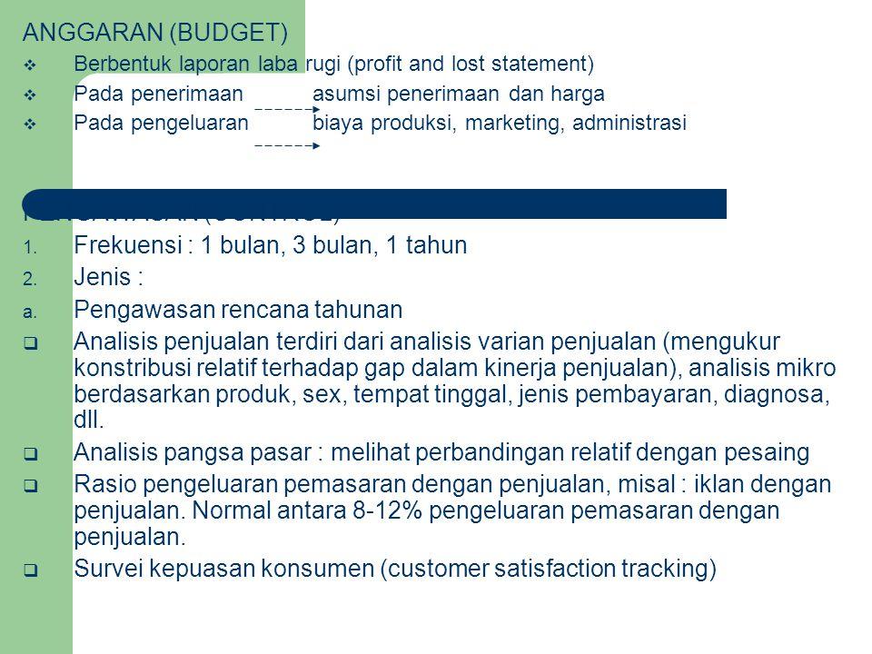 ANGGARAN (BUDGET)  Berbentuk laporan laba rugi (profit and lost statement)  Pada penerimaan asumsi penerimaan dan harga  Pada pengeluaran biaya produksi, marketing, administrasi PENGAWASAN (CONTROL) 1.