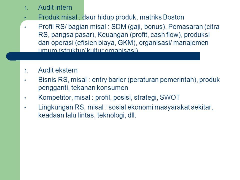 1. Audit intern Produk misal : daur hidup produk, matriks Boston Profil RS/ bagian misal : SDM (gaji, bonus), Pemasaran (citra RS, pangsa pasar), Keua