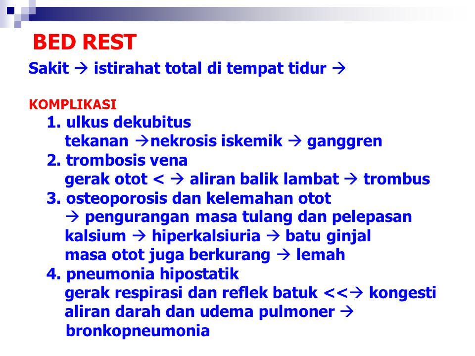 BED REST Sakit  istirahat total di tempat tidur  KOMPLIKASI 1. ulkus dekubitus tekanan  nekrosis iskemik  ganggren 2. trombosis vena gerak otot <