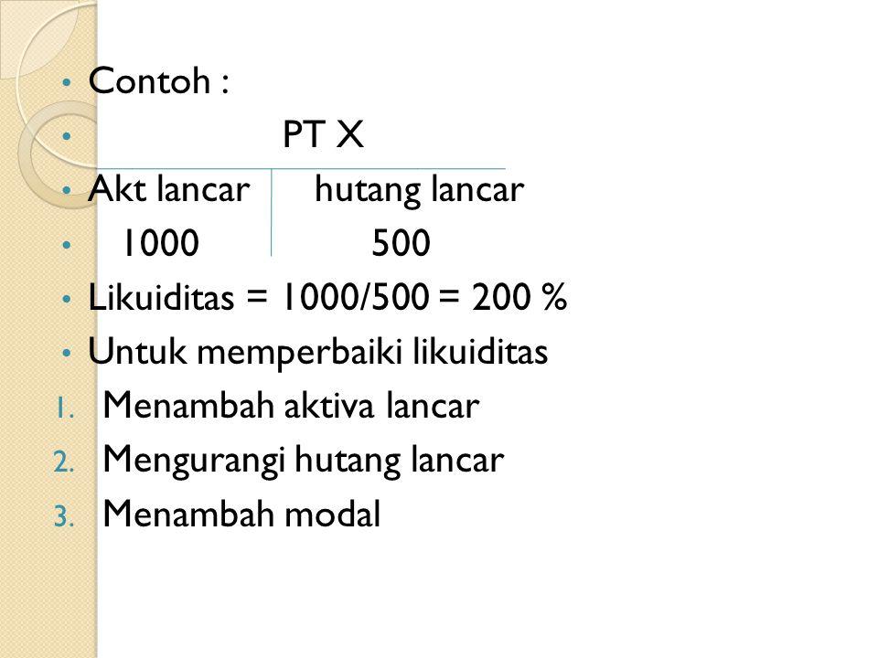 Contoh : PT X Akt lancar hutang lancar 1000 500 Likuiditas = 1000/500 = 200 % Untuk memperbaiki likuiditas 1. Menambah aktiva lancar 2. Mengurangi hut