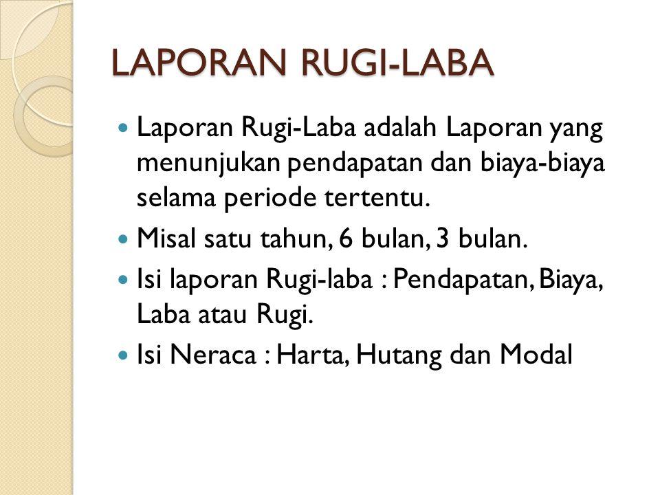 LAPORAN RUGI-LABA Laporan Rugi-Laba adalah Laporan yang menunjukan pendapatan dan biaya-biaya selama periode tertentu. Misal satu tahun, 6 bulan, 3 bu