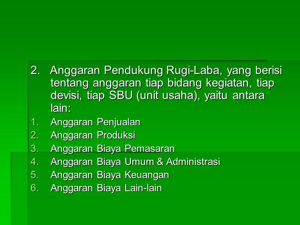 2. Anggaran Pendukung Rugi-Laba, yang berisi tentang anggaran tiap bidang kegiatan, tiap devisi, tiap SBU (unit usaha), yaitu antara lain: 1.Anggaran