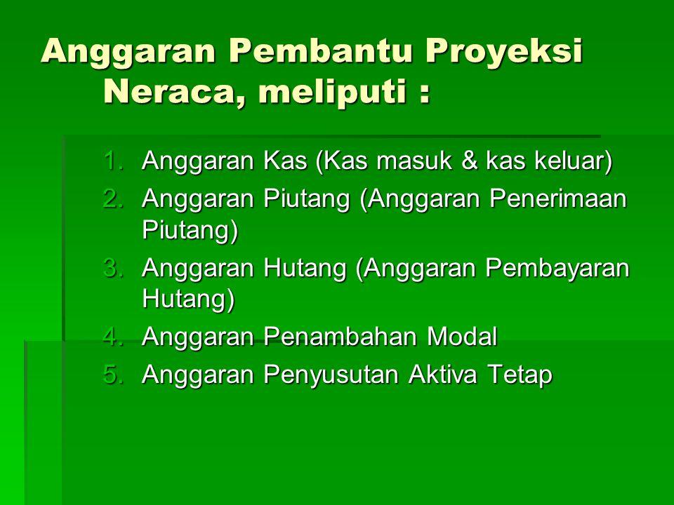 Anggaran Pembantu Proyeksi Neraca, meliputi : 1.Anggaran Kas (Kas masuk & kas keluar) 2.Anggaran Piutang (Anggaran Penerimaan Piutang) 3.Anggaran Huta