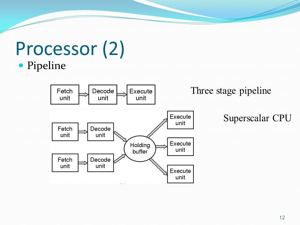 Processor (2) Pipeline 12 Three stage pipeline Superscalar CPU
