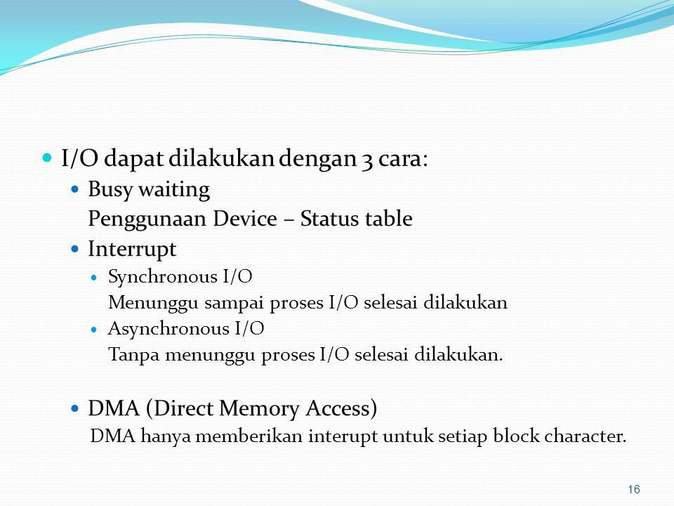 I/O dapat dilakukan dengan 3 cara: Busy waiting Penggunaan Device – Status table Interrupt Synchronous I/O Menunggu sampai proses I/O selesai dilakuka