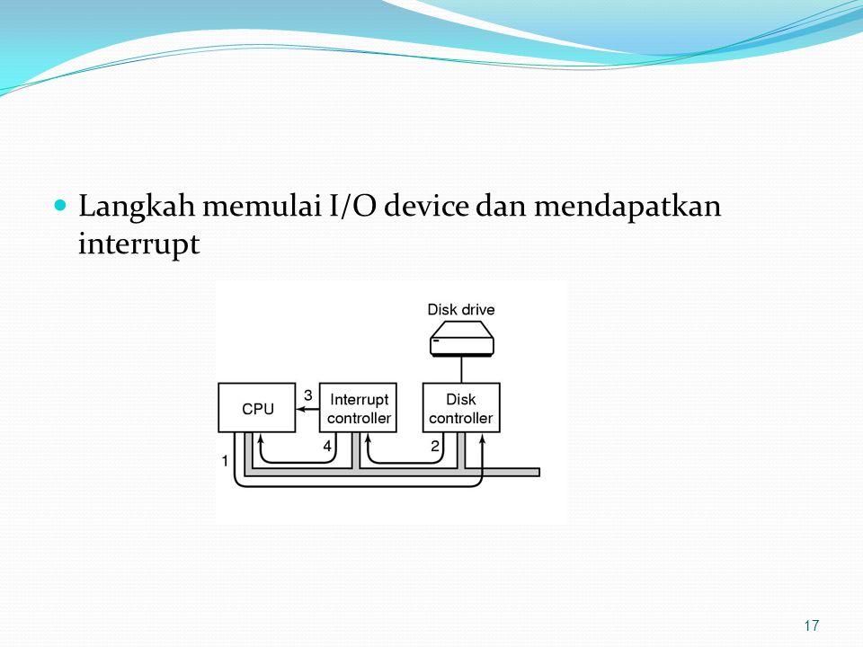 Langkah memulai I/O device dan mendapatkan interrupt 17