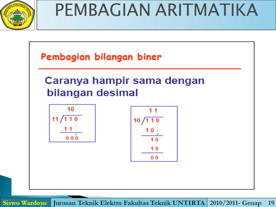 Siswo WardoyoJurusan Teknik Elektro Fakultas Teknik UNTIRTA2010/2011- Genap 19 PEMBAGIAN ARITMATIKA