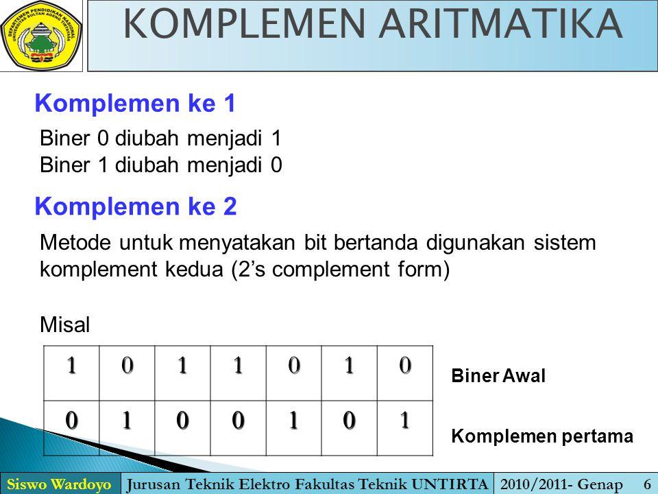 Metode untuk menyatakan bit bertanda digunakan sistem komplement kedua (2's complement form) Komplemen ke 1 Komplemen ke 2 Biner 0 diubah menjadi 1 Bi