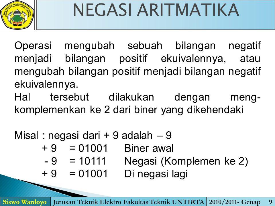Operasi mengubah sebuah bilangan negatif menjadi bilangan positif ekuivalennya, atau mengubah bilangan positif menjadi bilangan negatif ekuivalennya.