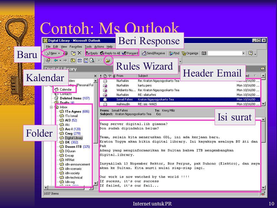 Internet untuk PR10 Contoh: Ms Outlook  Tampilan depan Kalendar Folder Header Email Isi surat Baru Beri Response Rules Wizard