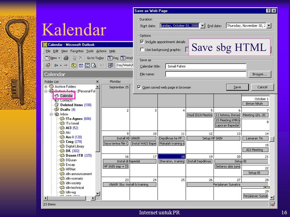 Internet untuk PR16 Kalendar Save sbg HTML