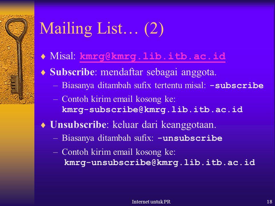 Internet untuk PR18 Mailing List… (2)  Misal: kmrg@kmrg.lib.itb.ac.id kmrg@kmrg.lib.itb.ac.id  Subscribe: mendaftar sebagai anggota. –Biasanya ditam
