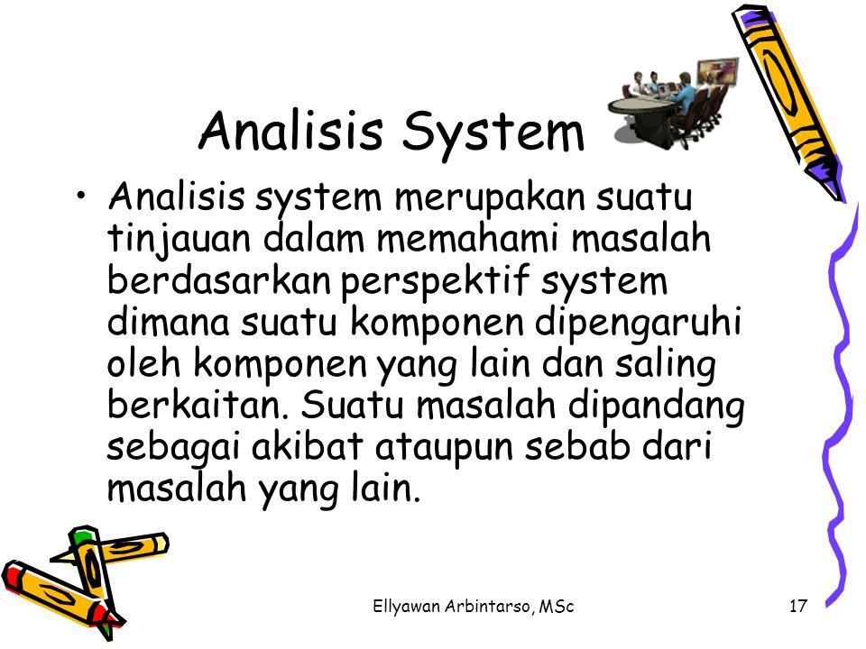Ellyawan Arbintarso, MSc17 Analisis System Analisis system merupakan suatu tinjauan dalam memahami masalah berdasarkan perspektif system dimana suatu komponen dipengaruhi oleh komponen yang lain dan saling berkaitan.