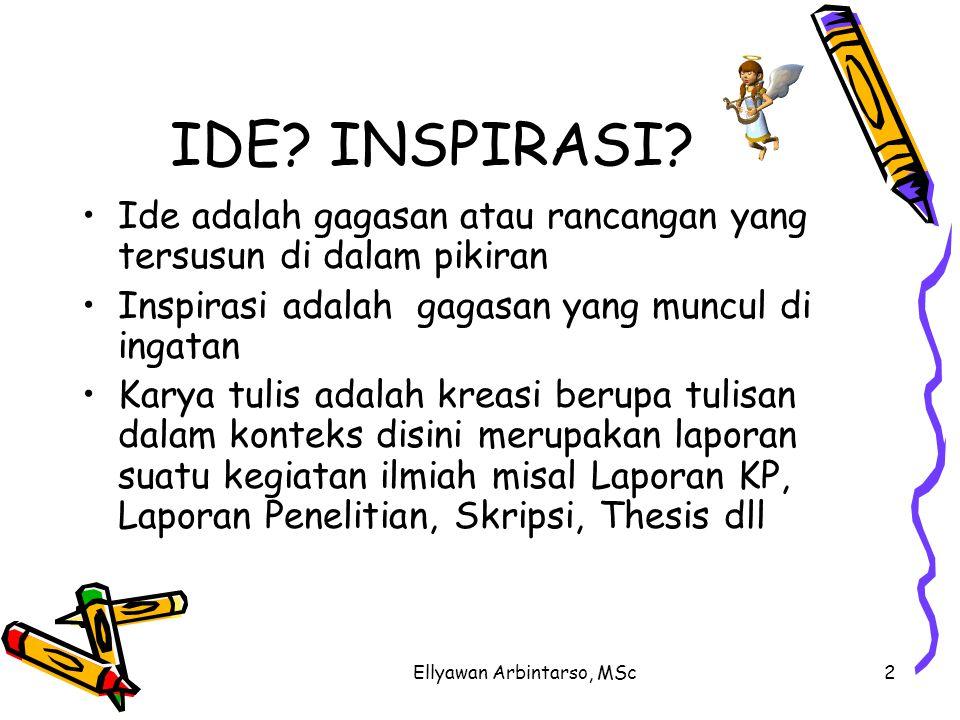Ellyawan Arbintarso, MSc2 IDE? INSPIRASI? Ide adalah gagasan atau rancangan yang tersusun di dalam pikiran Inspirasi adalah gagasan yang muncul di ing