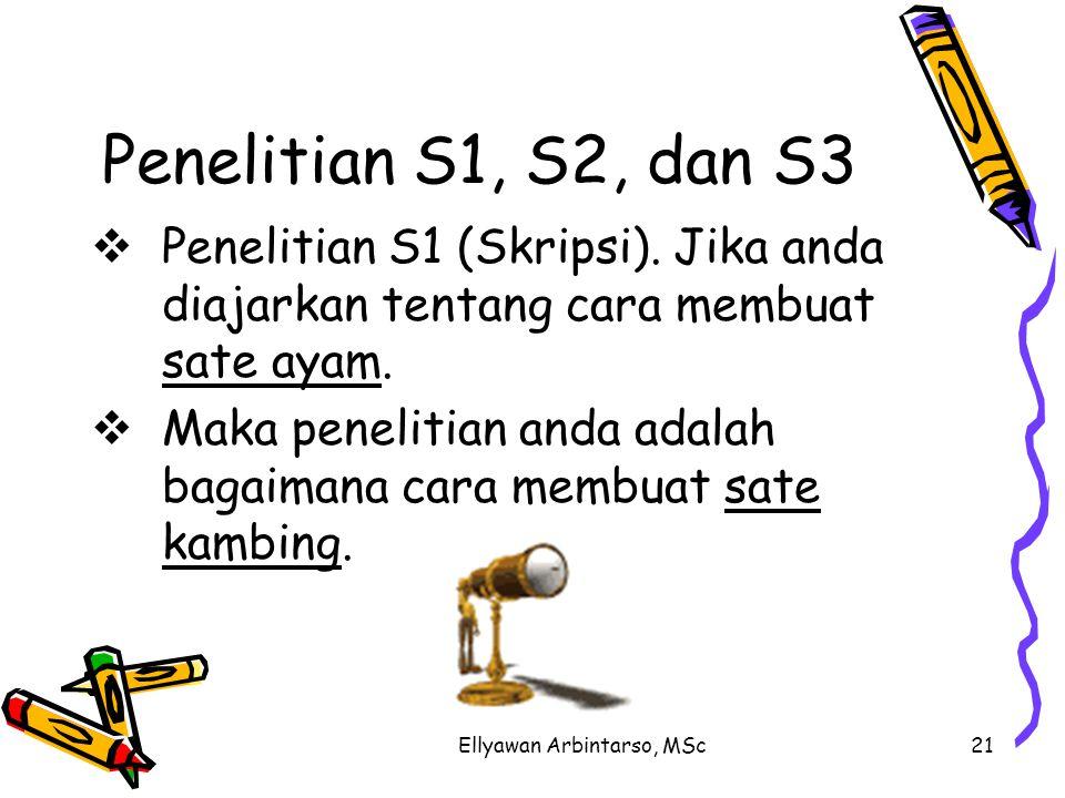 Ellyawan Arbintarso, MSc21 Penelitian S1, S2, dan S3 PPenelitian S1 (Skripsi). Jika anda diajarkan tentang cara membuat sate ayam. MMaka penelitia