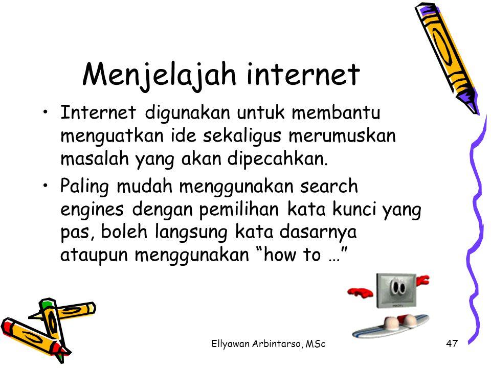 Ellyawan Arbintarso, MSc47 Menjelajah internet Internet digunakan untuk membantu menguatkan ide sekaligus merumuskan masalah yang akan dipecahkan.