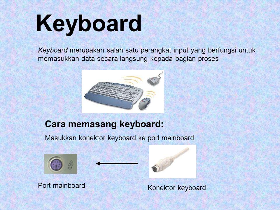Jenis keyboard secara fisik 1.Keyboard Serial : Menggunakan DIN 5 male dan biasanya digunakan pada komputer tipe AT 2.Keyboard PS/2 : Biasanya digunakan pada komputer ATX 3.Keyboard Wireless: keyboard tipe ini tidak menggunakan kabel sebagai penghubung antara keyboard dengan komputer.