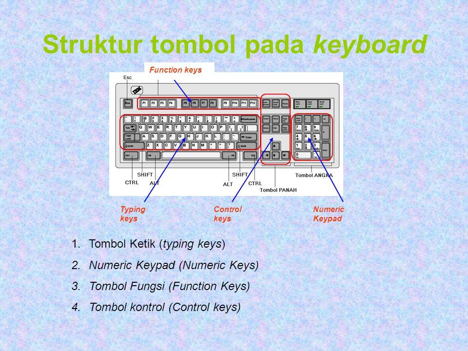 Struktur tombol pada keyboard Typing keys Control keys Numeric Keypad Function keys 1.Tombol Ketik (typing keys) 2.Numeric Keypad (Numeric Keys) 3.Tom