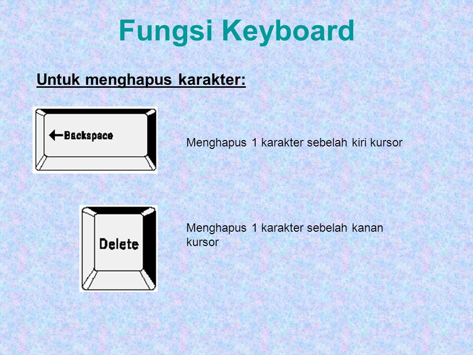 Fungsi Keyboard Tombol ALT akan berfungsi bila penggunaannya dipasangkan dengan tombol lainnya, misal Alt+F4 Tombol Ctrl akan berfungsi bila penggunaannya dipasangkan dengan tombol lainnya, misal Ctrlt+F4 Tombol F1 – F12 adalah tombol fungsi yang pemanfaatannya disesuaikan dengan sistem operasi atau aplikasi, misal F1 - Help