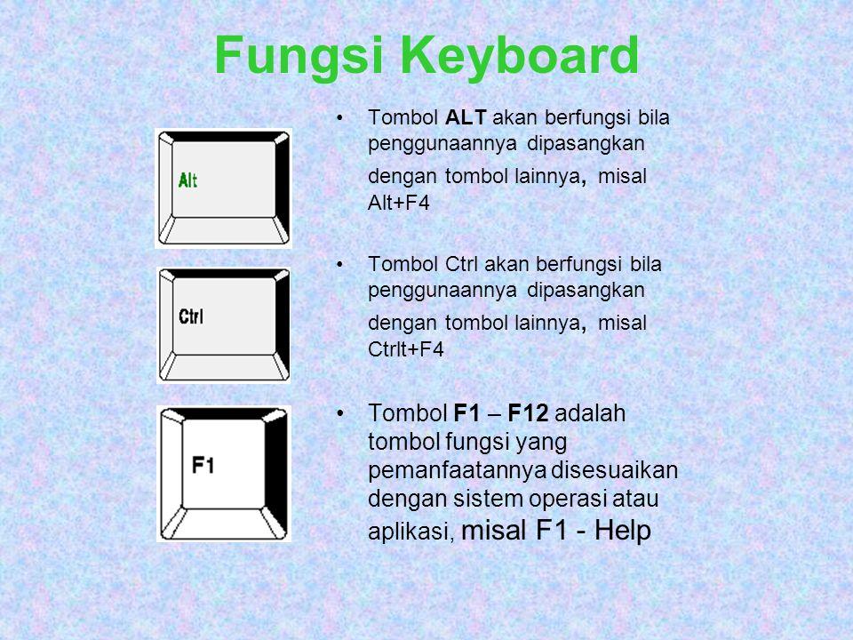 Fungsi Keyboard Tombol ALT akan berfungsi bila penggunaannya dipasangkan dengan tombol lainnya, misal Alt+F4 Tombol Ctrl akan berfungsi bila penggunaa
