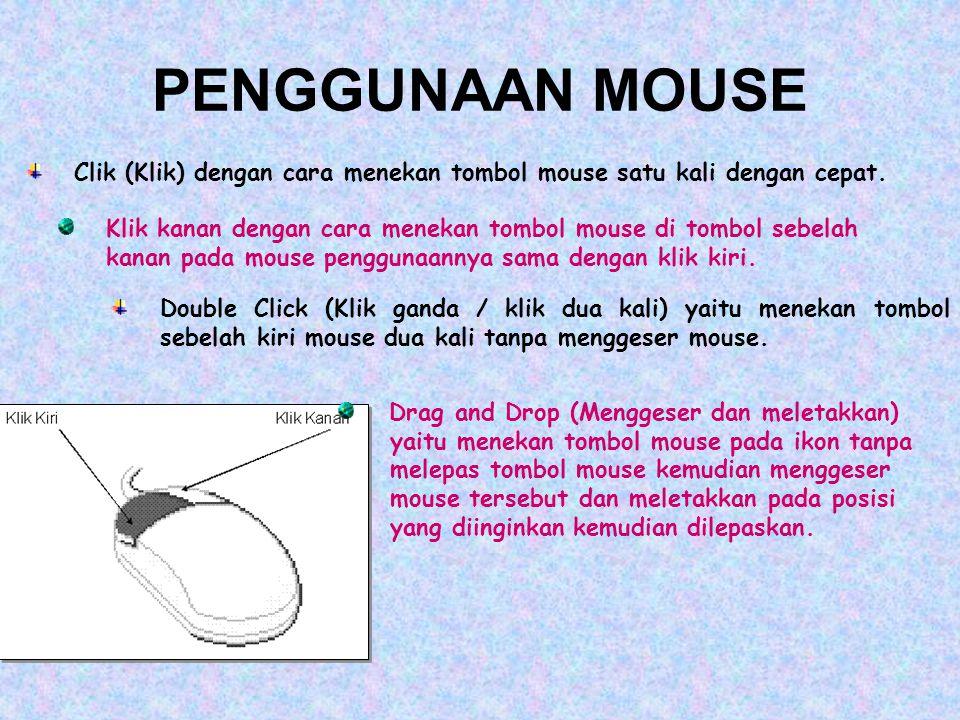 PENGGUNAAN MOUSE Clik (Klik) dengan cara menekan tombol mouse satu kali dengan cepat. Klik kanan dengan cara menekan tombol mouse di tombol sebelah ka