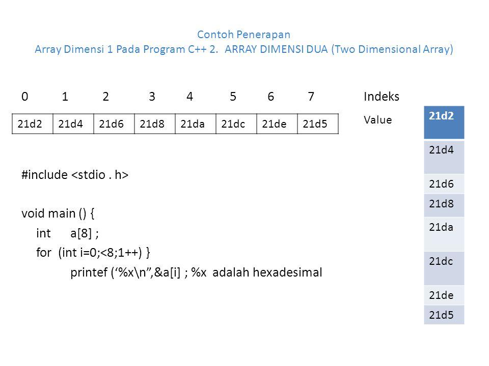 Contoh Penerapan Array Dimensi 1 Pada Program C++ 2. ARRAY DIMENSI DUA (Two Dimensional Array) 0 1 2 3 4 5 6 7Indeks #include void main () { int a[8]