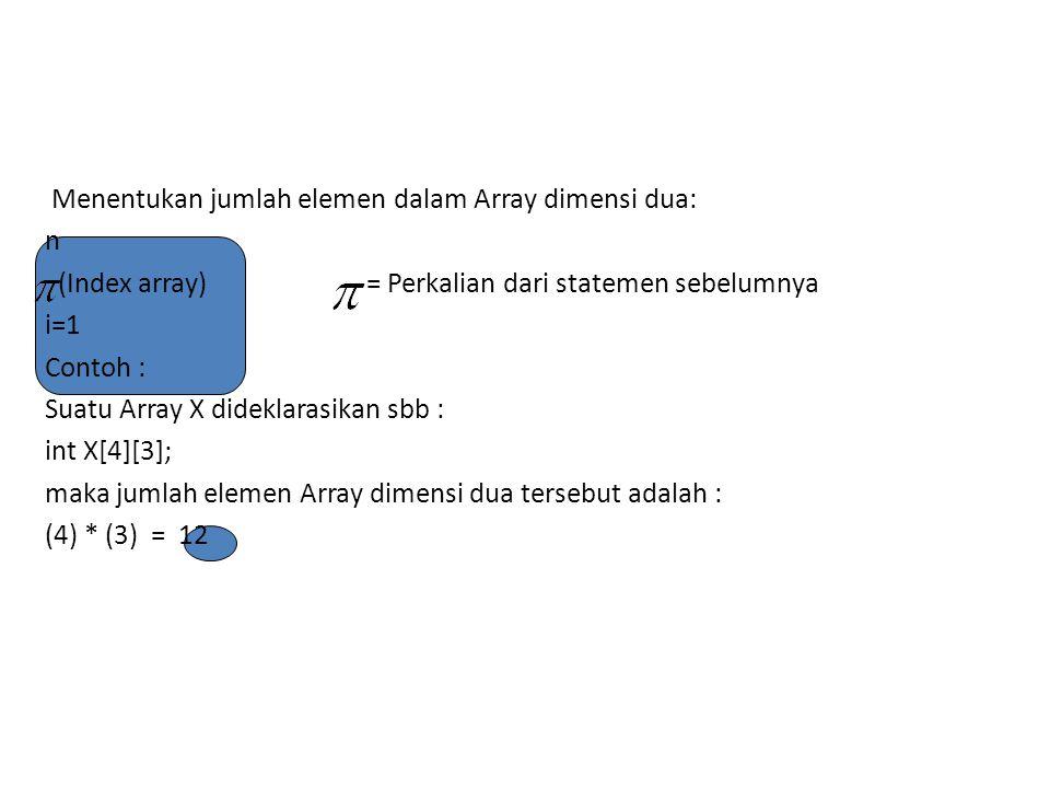 Menentukan jumlah elemen dalam Array dimensi dua: n (Index array) = Perkalian dari statemen sebelumnya i=1 Contoh : Suatu Array X dideklarasikan sbb :