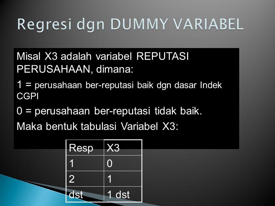 Misal X3 adalah variabel REPUTASI PERUSAHAAN, dimana: 1 = perusahaan ber-reputasi baik dgn dasar Indek CGPI 0 = perusahaan ber-reputasi tidak baik.