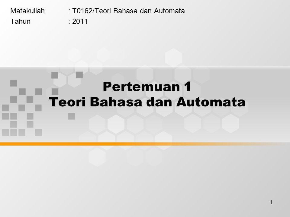 1 Pertemuan 1 Teori Bahasa dan Automata Matakuliah: T0162/Teori Bahasa dan Automata Tahun: 2011