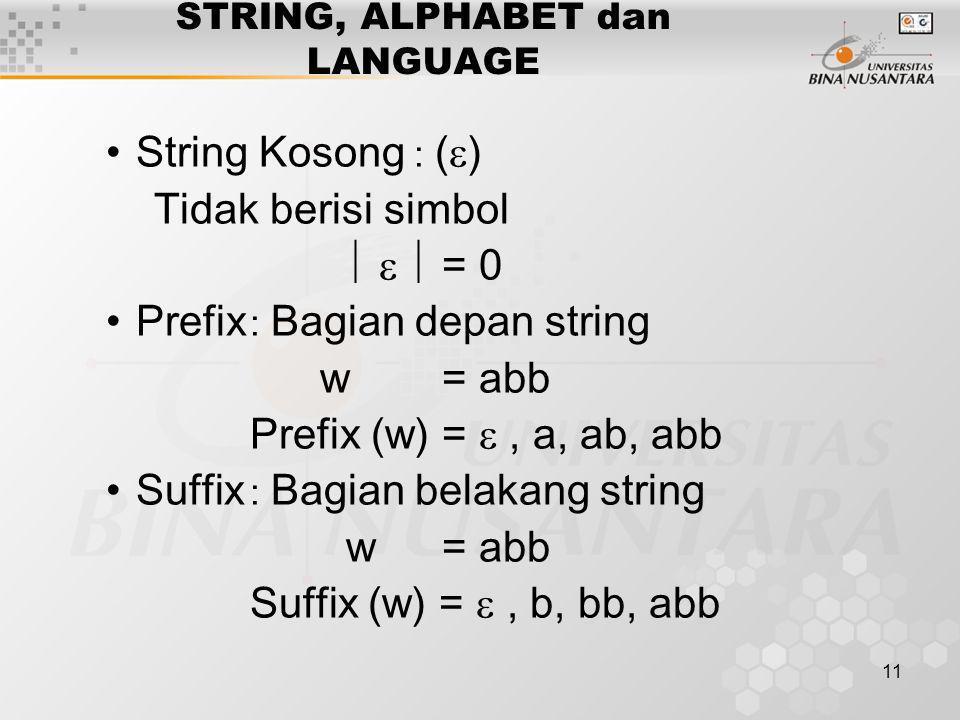 11 STRING, ALPHABET dan LANGUAGE String Kosong : (  ) Tidak berisi simbol    = 0 Prefix : Bagian depan string w= abb Prefix (w)= , a, ab, abb Suf