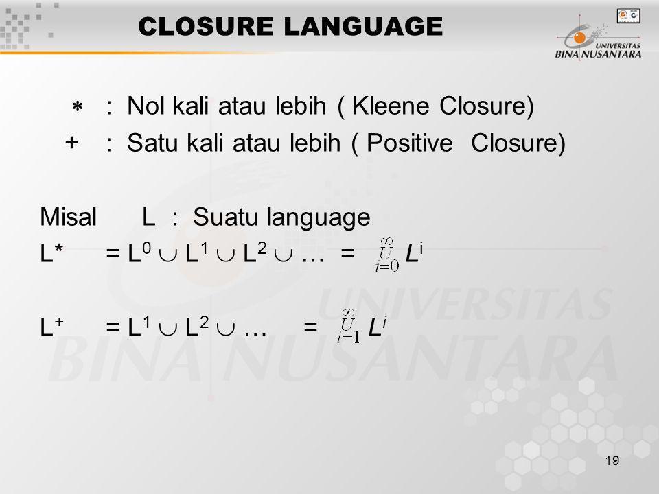 19 CLOSURE LANGUAGE  : Nol kali atau lebih ( Kleene Closure) +: Satu kali atau lebih ( Positive Closure) Misal L: Suatu language L*= L 0  L 1  L 2
