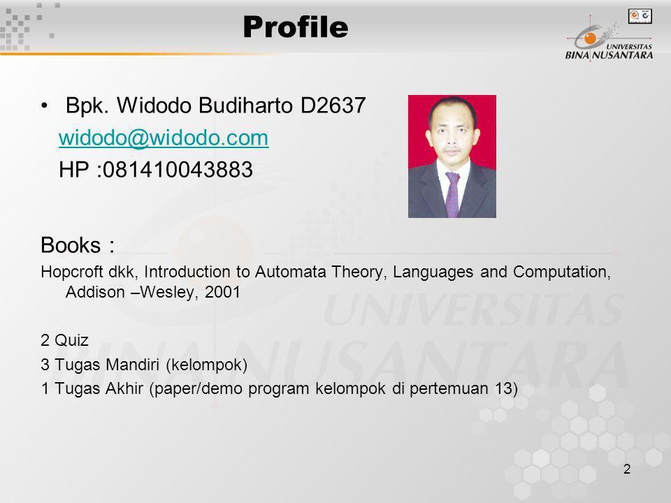 Profile Bpk. Widodo Budiharto D2637 widodo@widodo.com HP :081410043883 Books : Hopcroft dkk, Introduction to Automata Theory, Languages and Computatio