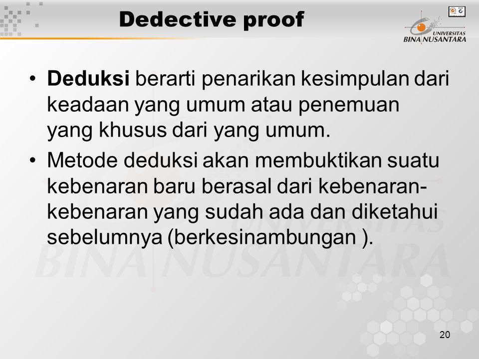 Dedective proof 20 Deduksi berarti penarikan kesimpulan dari keadaan yang umum atau penemuan yang khusus dari yang umum. Metode deduksi akan membuktik