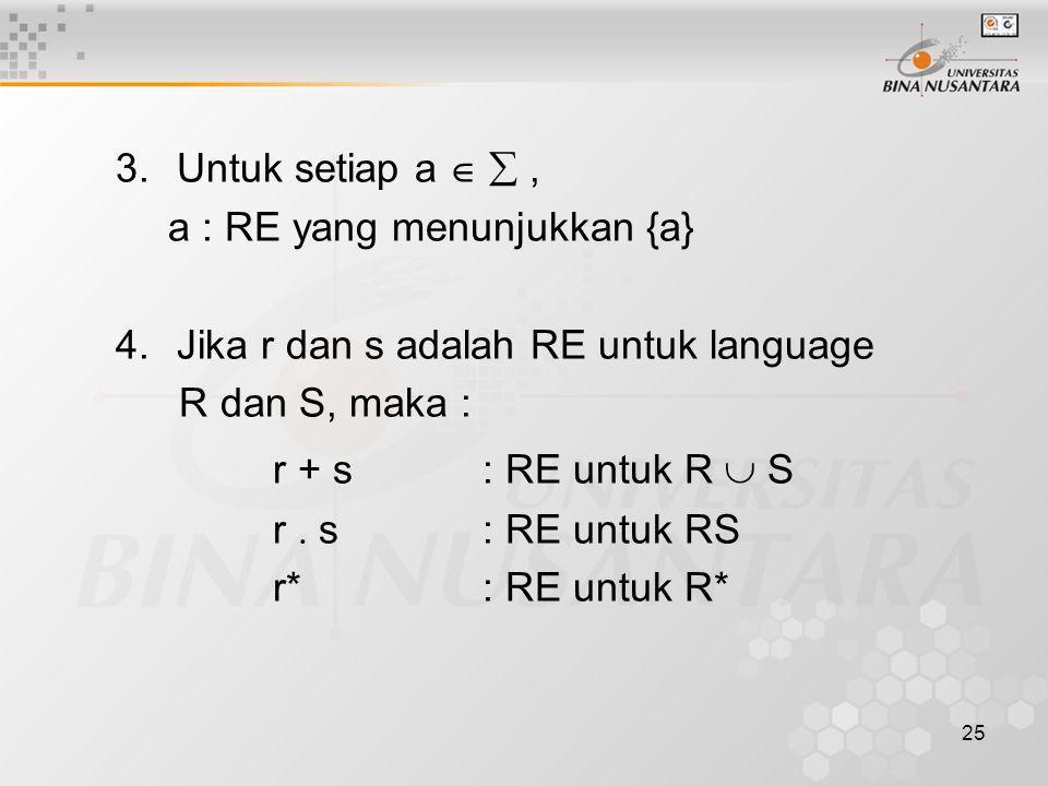 3.Untuk setiap a  , a : RE yang menunjukkan {a} 4.Jika r dan s adalah RE untuk language R dan S, maka : r + s: RE untuk R  S r  s: RE untuk RS r*: