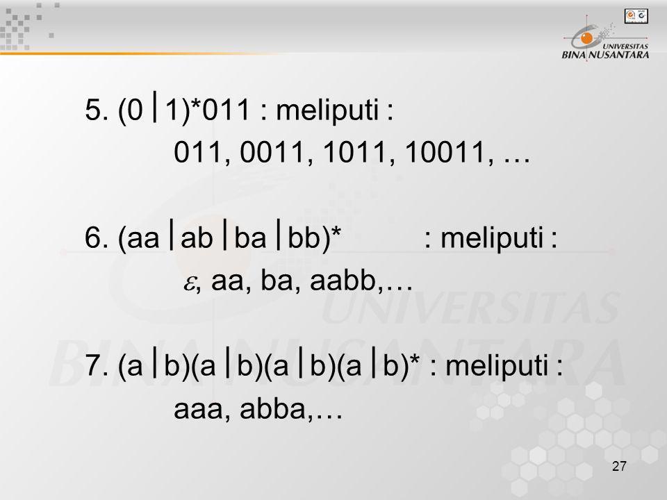 5. (0  1)*011 : meliputi : 011, 0011, 1011, 10011, … 6. (aa  ab  ba  bb)* : meliputi : , aa, ba, aabb,… 7. (a  b)(a  b)(a  b)(a  b)* : melipu