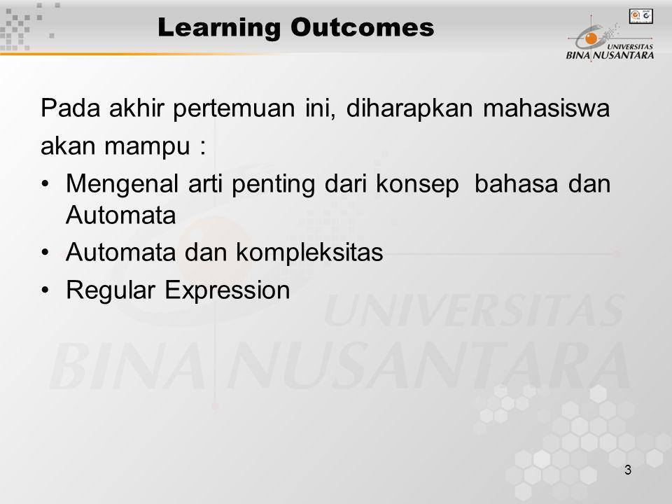3 Learning Outcomes Pada akhir pertemuan ini, diharapkan mahasiswa akan mampu : Mengenal arti penting dari konsep bahasa dan Automata Automata dan kom