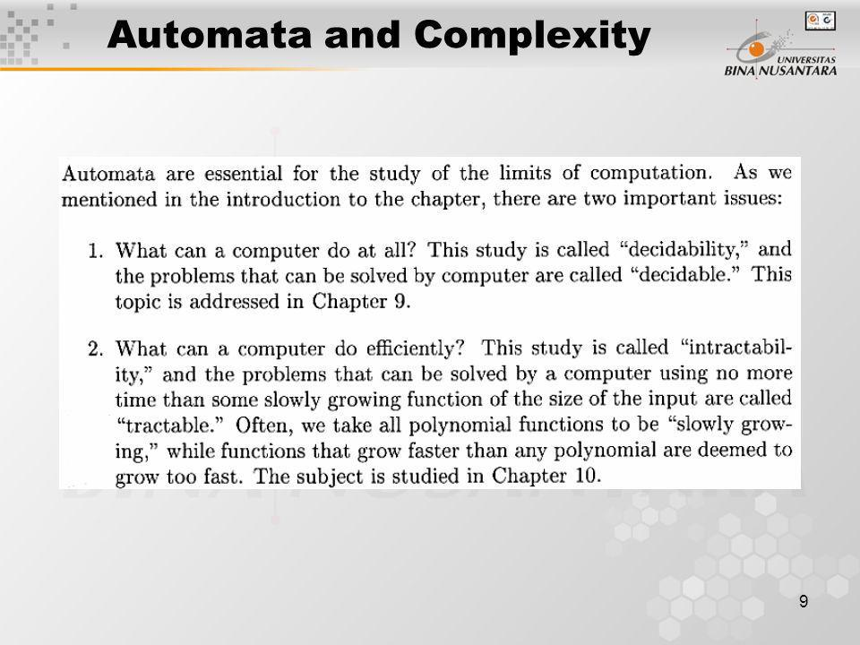 Automata and Complexity 9