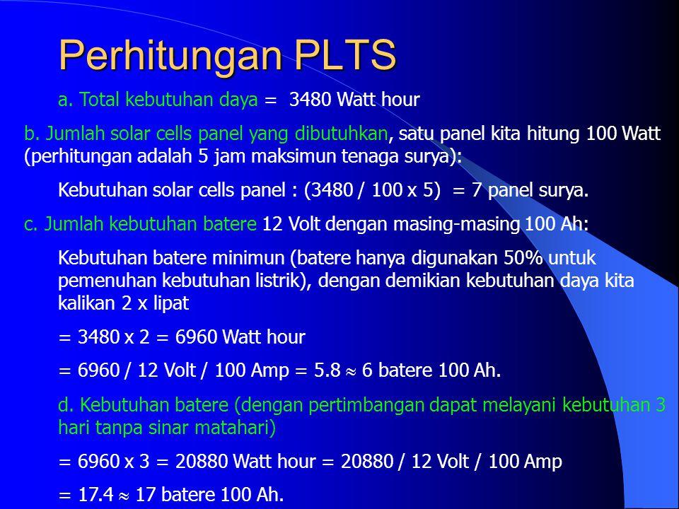 Perhitungan PLTS a. Total kebutuhan daya = 3480 Watt hour b. Jumlah solar cells panel yang dibutuhkan, satu panel kita hitung 100 Watt (perhitungan ad