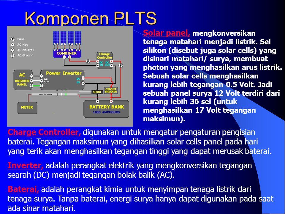 Komponen PLTS Charge Controller, digunakan untuk mengatur pengaturan pengisian baterai. Tegangan maksimun yang dihasilkan solar cells panel pada hari