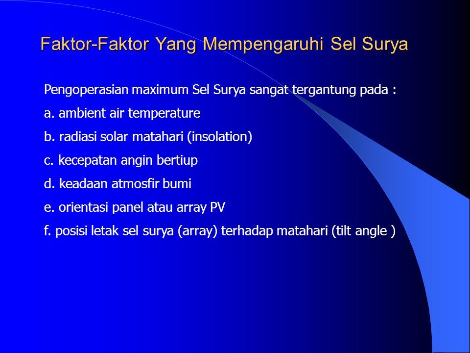 Faktor-Faktor Yang Mempengaruhi Sel Surya Pengoperasian maximum Sel Surya sangat tergantung pada : a. ambient air temperature b. radiasi solar matahar