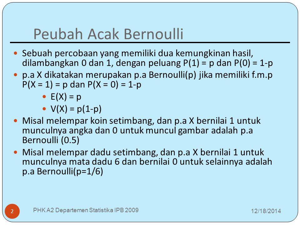 Peubah Acak Bernoulli 12/18/2014 PHK A2 Departemen Statistika IPB 2009 2 Sebuah percobaan yang memiliki dua kemungkinan hasil, dilambangkan 0 dan 1, dengan peluang P(1) = p dan P(0) = 1-p p.a X dikatakan merupakan p.a Bernoulli(p) jika memiliki f.m.p P(X = 1) = p dan P(X = 0) = 1-p E(X) = p V(X) = p(1-p) Misal melempar koin setimbang, dan p.a X bernilai 1 untuk munculnya angka dan 0 untuk muncul gambar adalah p.a Bernoulli (0.5) Misal melempar dadu setimbang, dan p.a X bernilai 1 untuk munculnya mata dadu 6 dan bernilai 0 untuk selainnya adalah p.a Bernoulli(p=1/6)